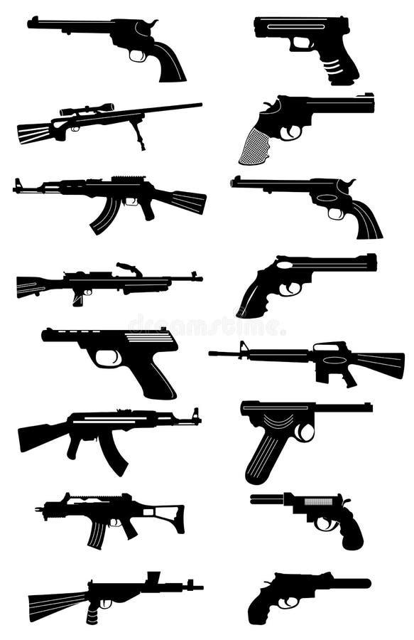 被设置的枪象 库存例证