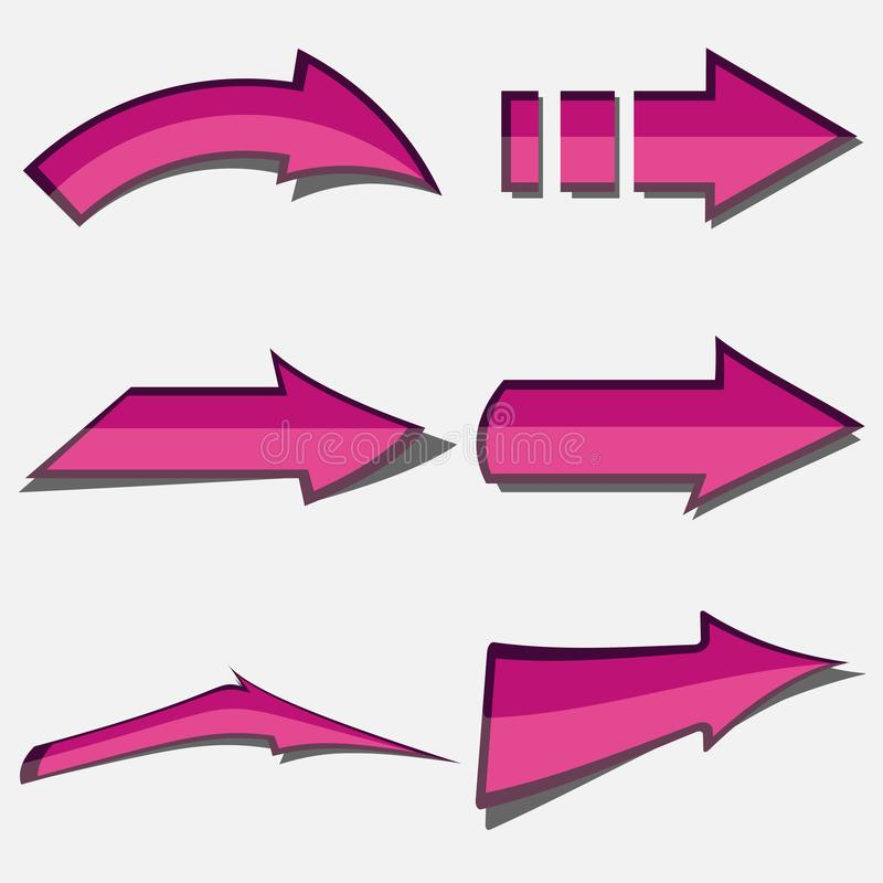 被设置的桃红色箭头-正确的方向 库存例证