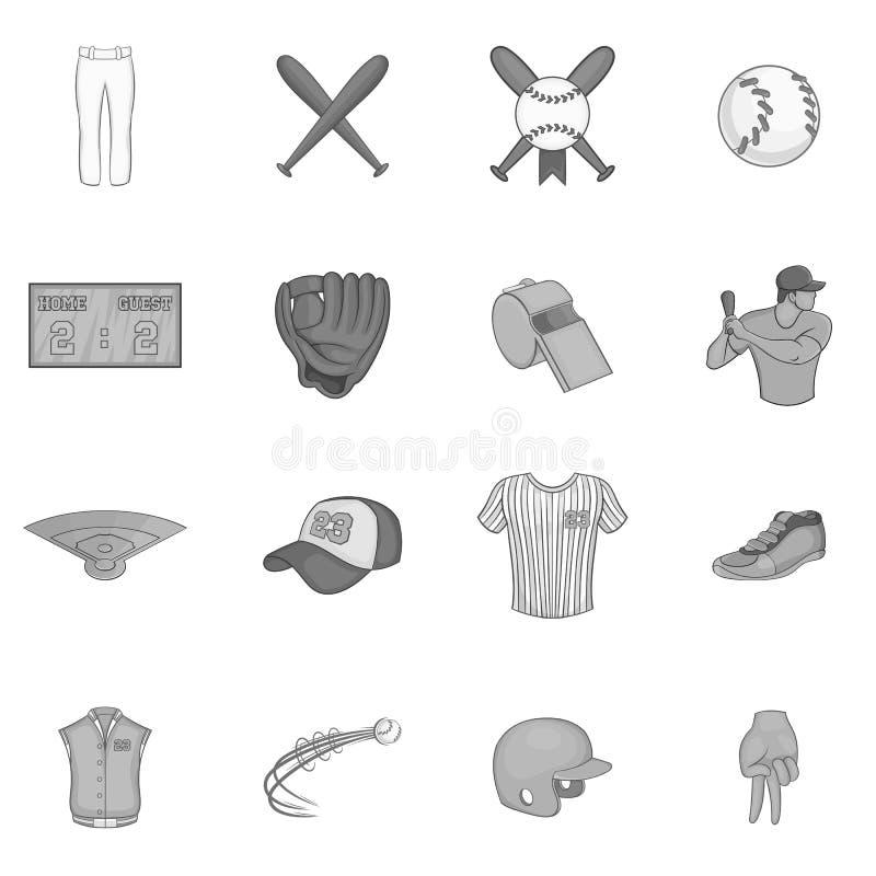 被设置的棒球象,黑单色样式 向量例证