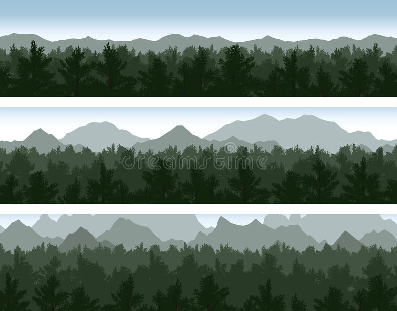 被设置的森林和山 皇族释放例证