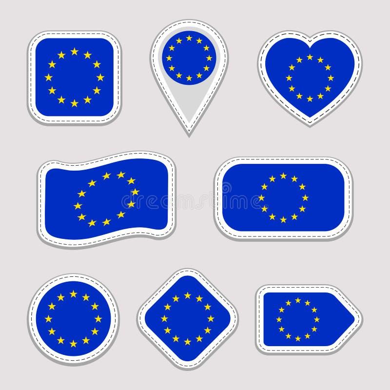 被设置的欧盟旗子贴纸 欧盟国家标志徽章 被隔绝的几何象 传染媒介官员下垂汇集 Sp 皇族释放例证