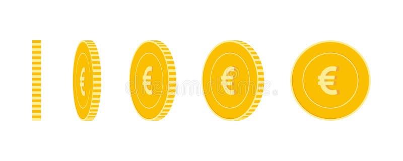 被设置的欧盟欧洲硬币,准备好的动画 EUR黄色铸造自转 欧洲用不同的位置被隔绝的金属货币 皇族释放例证