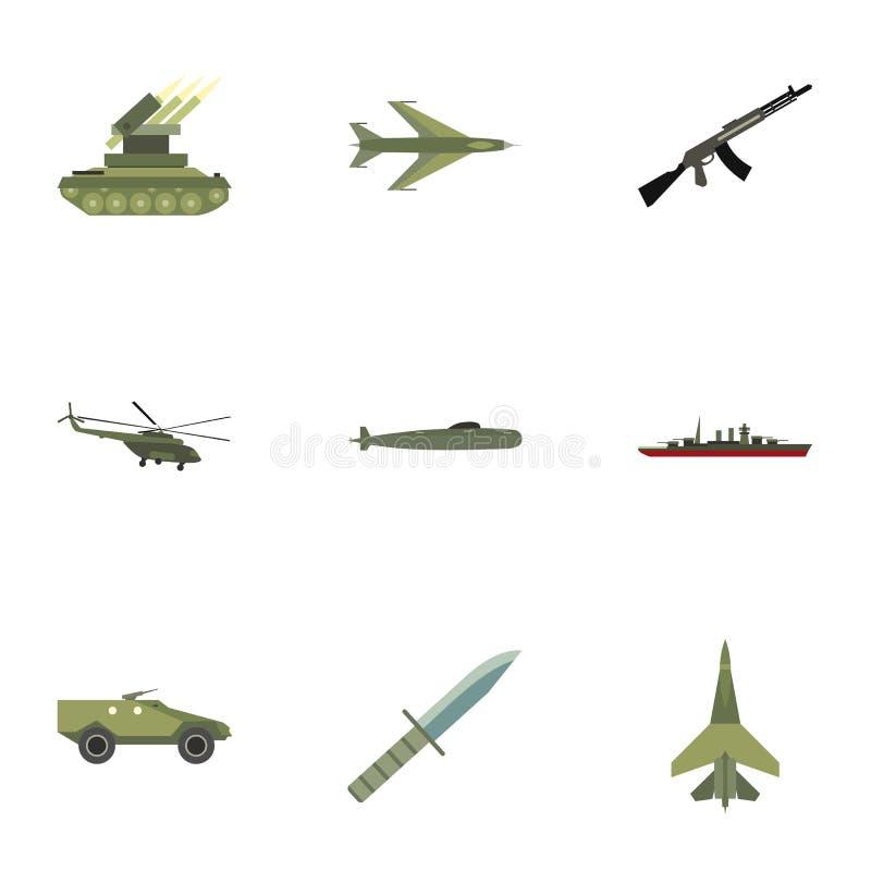 被设置的武器装备象,平的样式 皇族释放例证