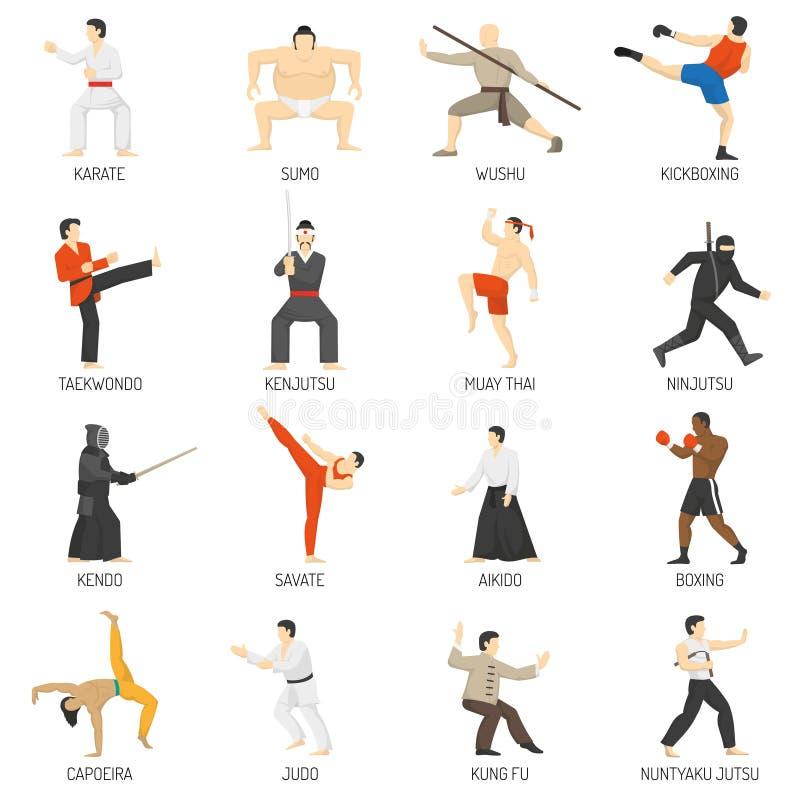 Download 被设置的武术装饰平的象 向量例证. 插画 包括有 和服, 象征, 空手道, 爱好健美者, 封锁, ninja - 72358077