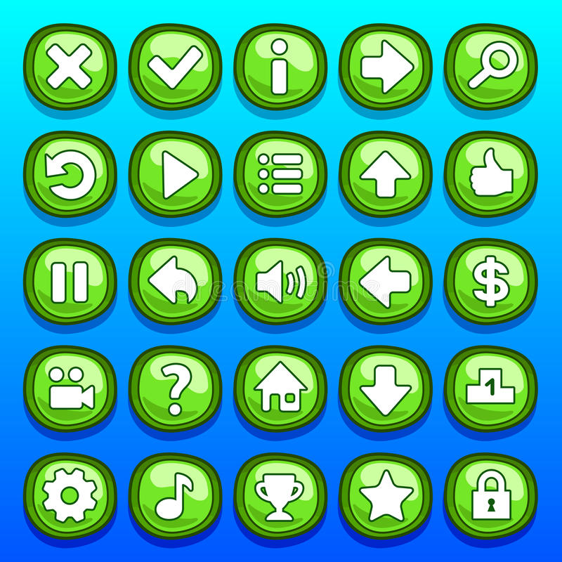 被设置的比赛绿色按钮 皇族释放例证