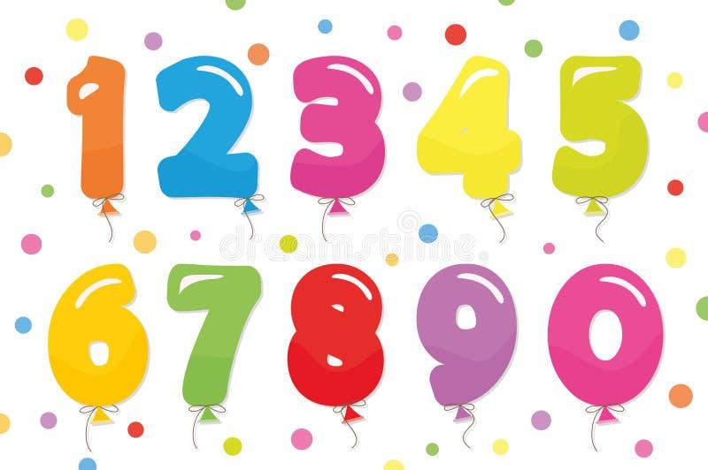 被设置的气球数字 对生日和党欢乐设计 向量例证