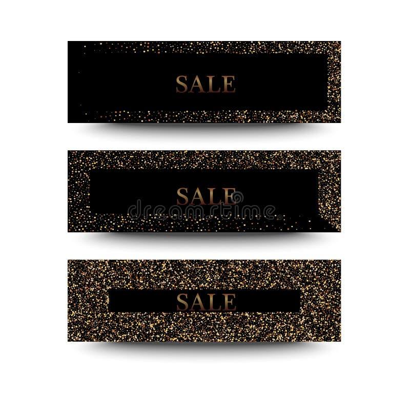被设置的水平的黑色和金横幅,贺卡设计 金黄尘土 向量例证