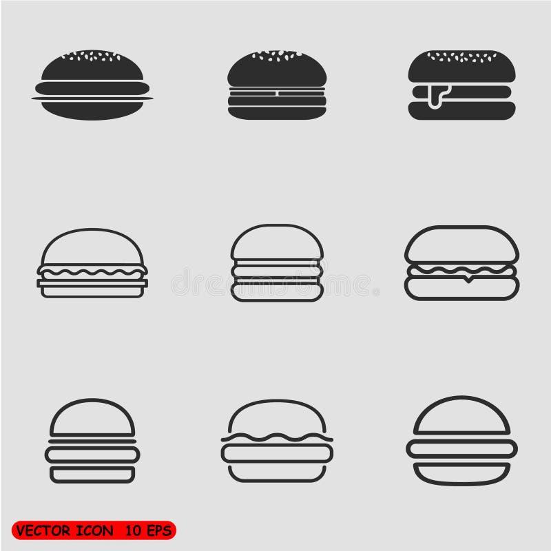 被设置的汉堡包象 库存例证