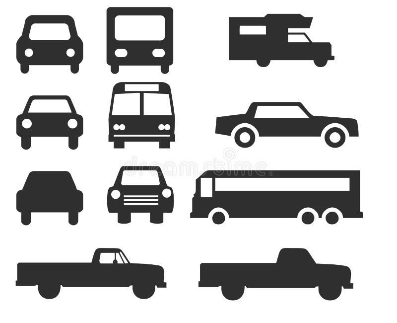 被设置的汽车和公共汽车象-传染媒介 免版税库存图片