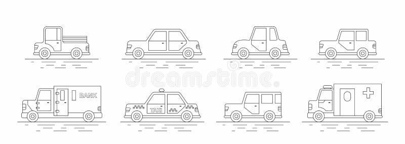 被设置的汽车图标 线性样式 也corel凹道例证向量 皇族释放例证