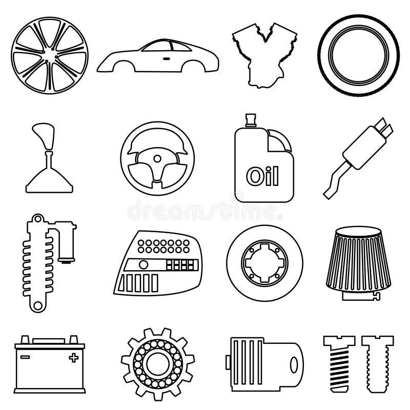 被设置的汽车零件商店简单的黑概述象 向量例证. 插画图片
