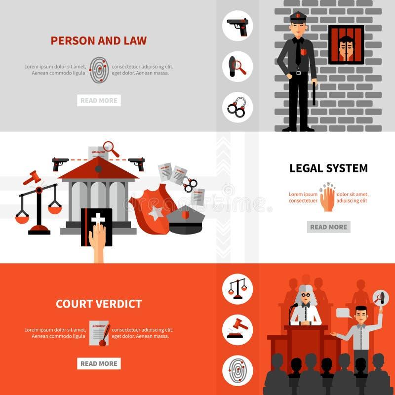 被设置的法律法律制度平的横幅 向量例证
