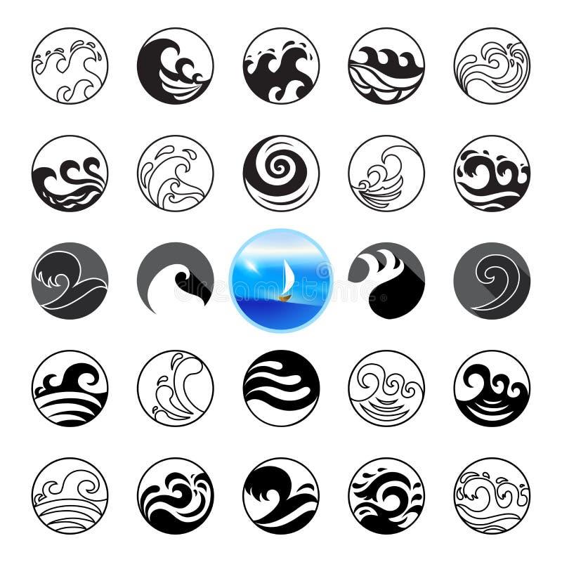 被设置的波浪象 水标志或商标设计 海洋,海,海滩 皇族释放例证