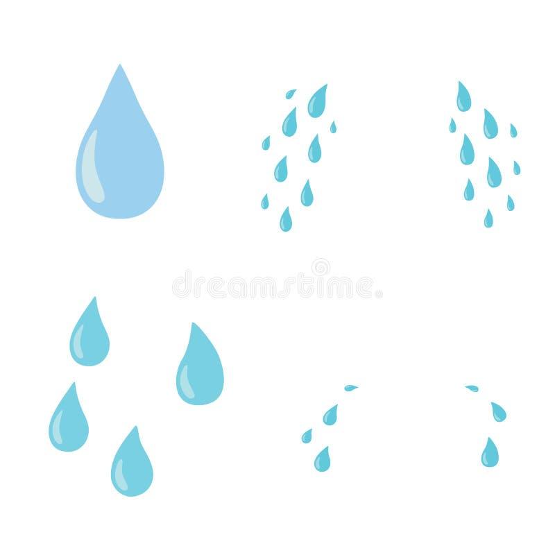 被设置的泪花 下落 传染媒介平的漫画人物象设计 背景查出的白色 啼声,泪花概念 向量例证