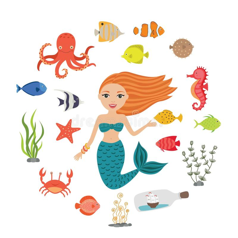 被设置的海洋例证 一点逗人喜爱的动画片美人鱼,滑稽的鱼,海星,有船的瓶,海藻,螃蟹,海象 向量例证