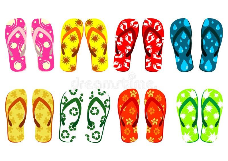 被设置的海滩凉鞋 库存例证