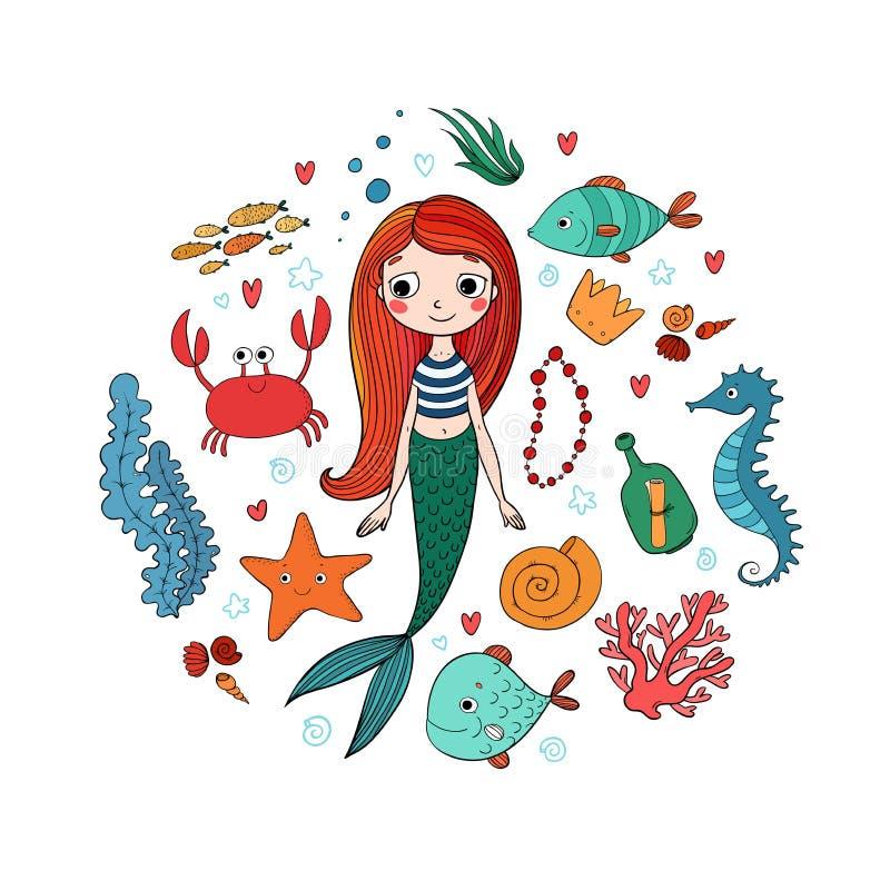 被设置的海洋例证 一点逗人喜爱的动画片美人鱼,滑稽的鱼,海星,有笔记的瓶,海藻,各种各样的壳 库存例证