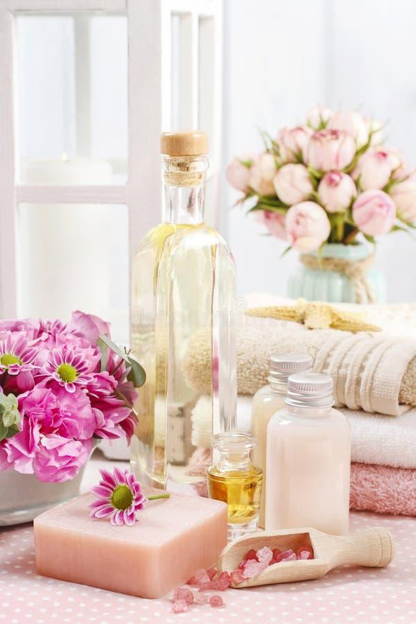 被设置的温泉:瓶精油,液体皂, raspberr瓢  库存图片