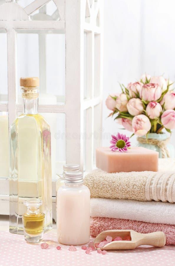 被设置的温泉:瓶精油,液体皂, raspberr瓢  图库摄影