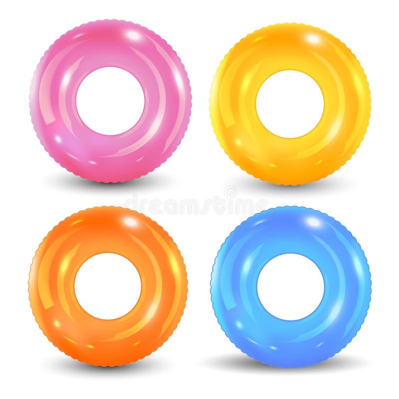 被设置的游泳圆环 可膨胀的橡胶玩具 Lifebuoy五颜六色的传染媒介收藏 夏天 现实夏令时例证 向量例证
