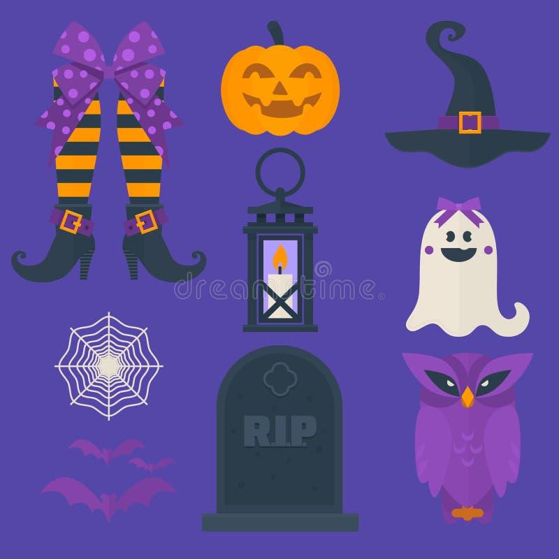 被设置的滑稽的万圣夜传染媒介象 包括甜点请求,猫头鹰、南瓜、鬼魂、棒、灯笼、巫婆和其他元素 皇族释放例证
