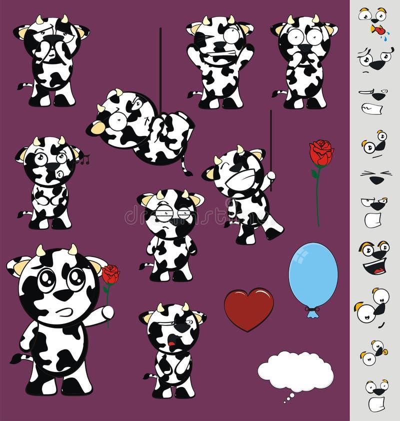 被设置的滑稽的矮小的胖的母牛动画片表示 库存例证