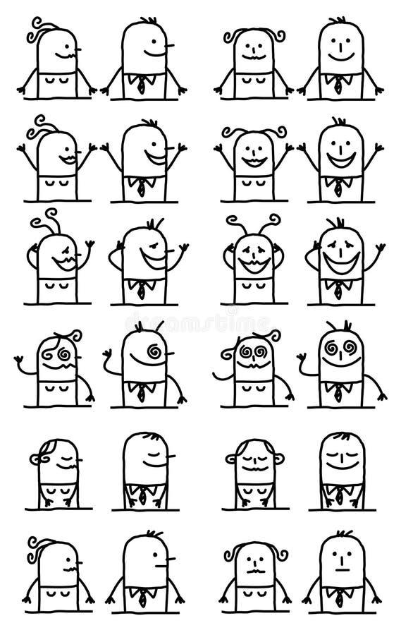 被设置的漫画人物-愉快和滑稽的面孔 向量例证