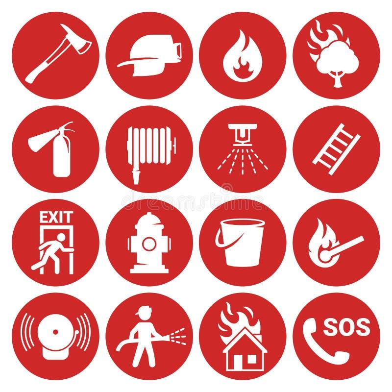 被设置的火紧急象 向量例证