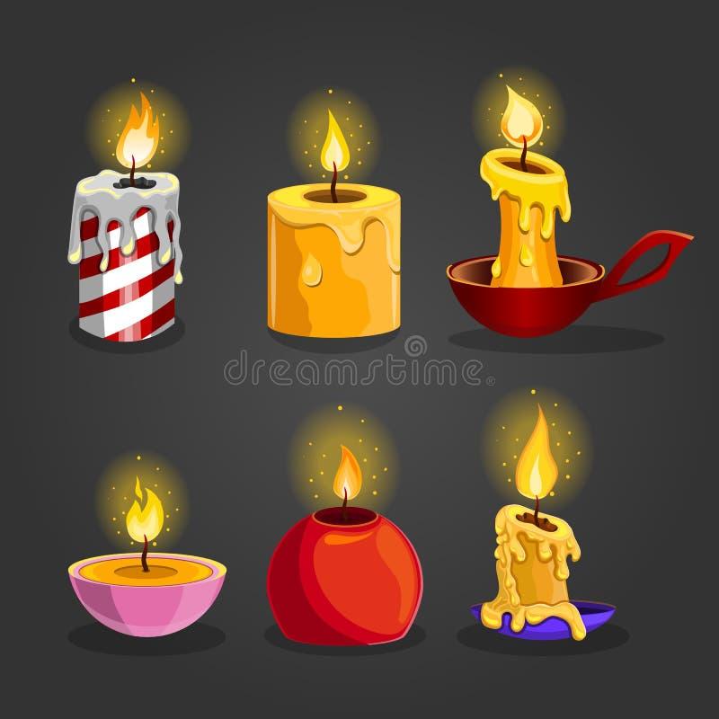 被设置的灼烧的蜡烛 向量例证