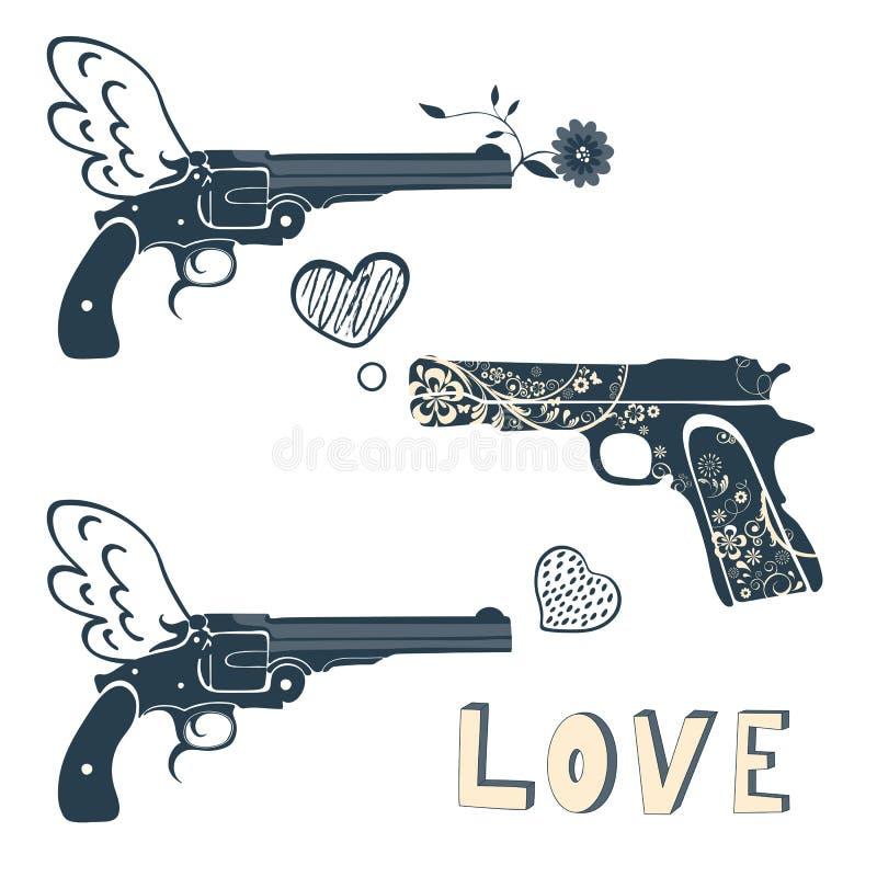 被设置的爱枪 与射击a的枪的葡萄酒象征 向量例证