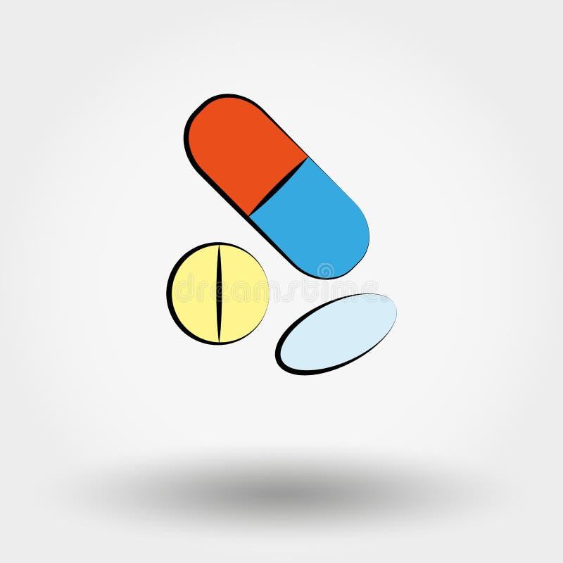 被设置的片剂和药片 皇族释放例证