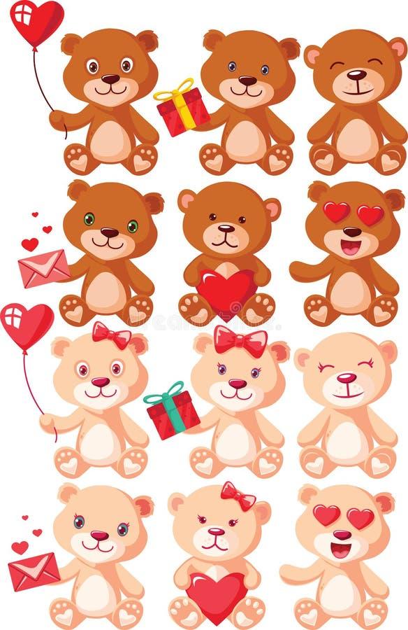 被设置的玩具熊字符 免版税库存照片