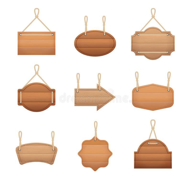 被设置的现实详细的3d木板 向量 库存例证