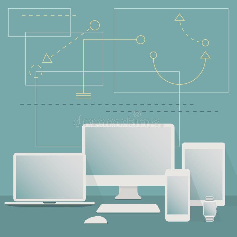 被设置的现代白色框架数字式设备 皇族释放例证