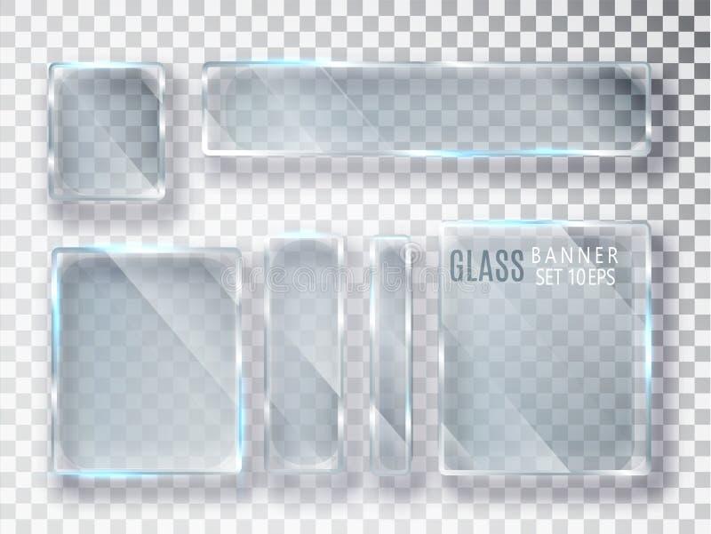 被设置的玻璃透明板材 导航在透明背景隔绝的玻璃现代横幅 平面镜 现实3D设计 Vec 库存例证