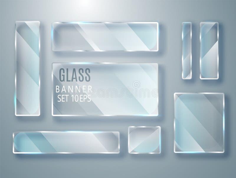 被设置的玻璃透明板材 导航在透明背景隔绝的玻璃现代横幅 平面镜 现实3D设计 Vec 皇族释放例证