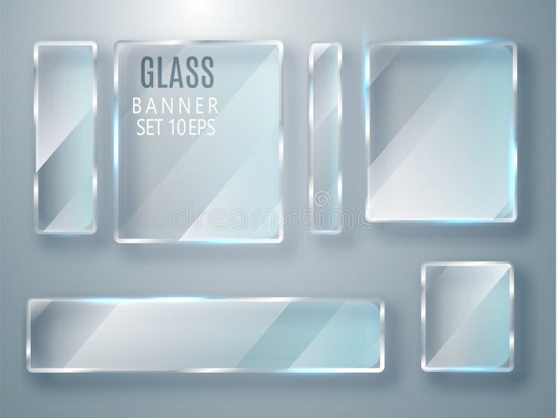 被设置的玻璃透明横幅 导航有一个地方的玻璃板被隔绝的题字的透明背景的 平面镜 r 库存例证