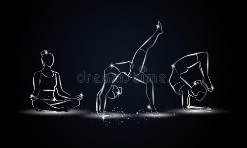 被设置的瑜伽姿势 体育横幅、背景和飞行物的金属线性瑜伽例证 库存例证
