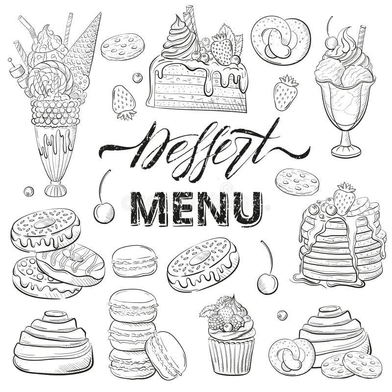 被设置的甜美丽的点心 餐馆或咖啡馆菜单的Clipart 线艺术 蛋糕用新鲜的莓果 草图 皇族释放例证