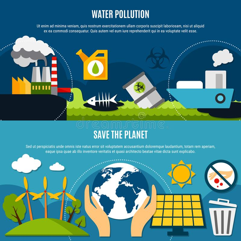 被设置的生态和污染横幅 库存例证