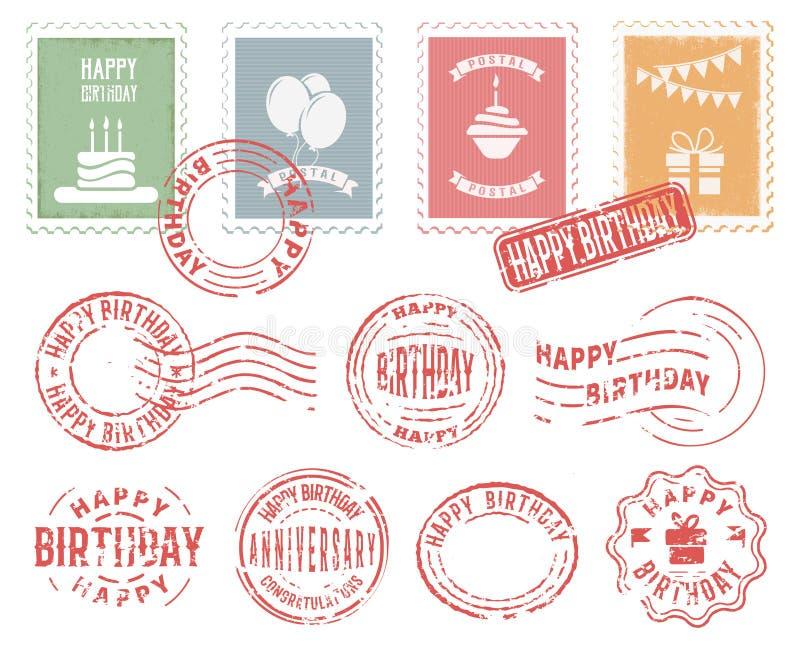 被设置的生日五颜六色的邮政邮票 向量例证
