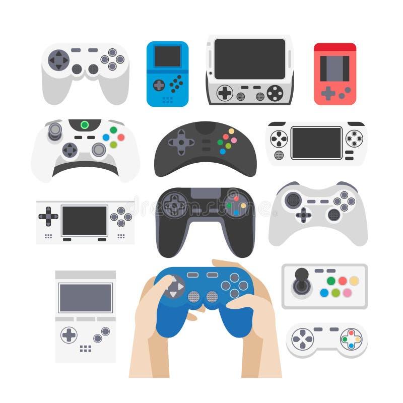 被设置的电子游戏图标 赌博设备的汇集 库存例证