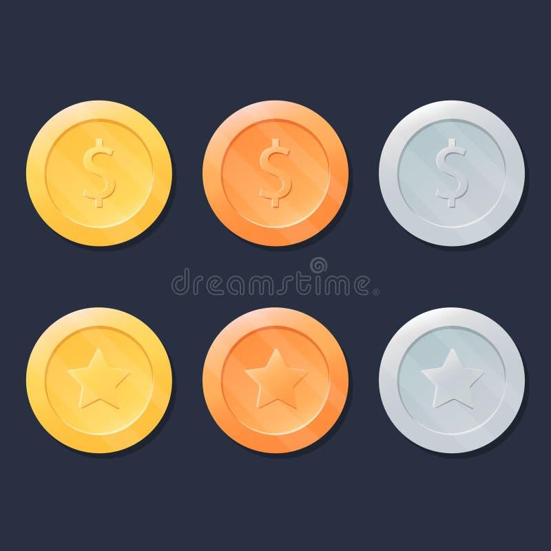 被设置的电子游戏硬币或奖牌 金子、银和古铜 图表用户界面设计元素 库存例证