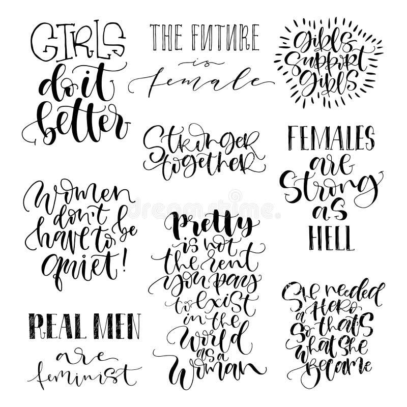 被设置的男女平等主义者行情 未来一起女性,女孩支持女孩,更加坚强 现代刷子书法 图象 库存例证