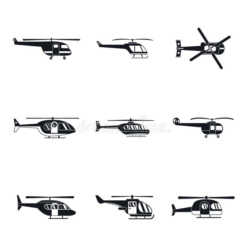 被设置的直升机军事象,简单的样式 向量例证