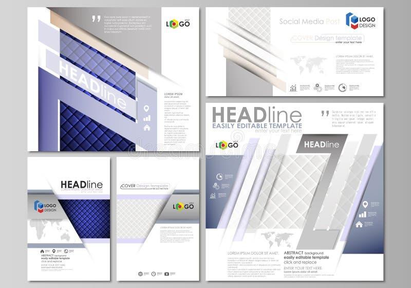 被设置的社会媒介岗位 企业总公司例证样式模板 抽象设计模板,传染媒介布局以普遍的格式 发光的织品 皇族释放例证