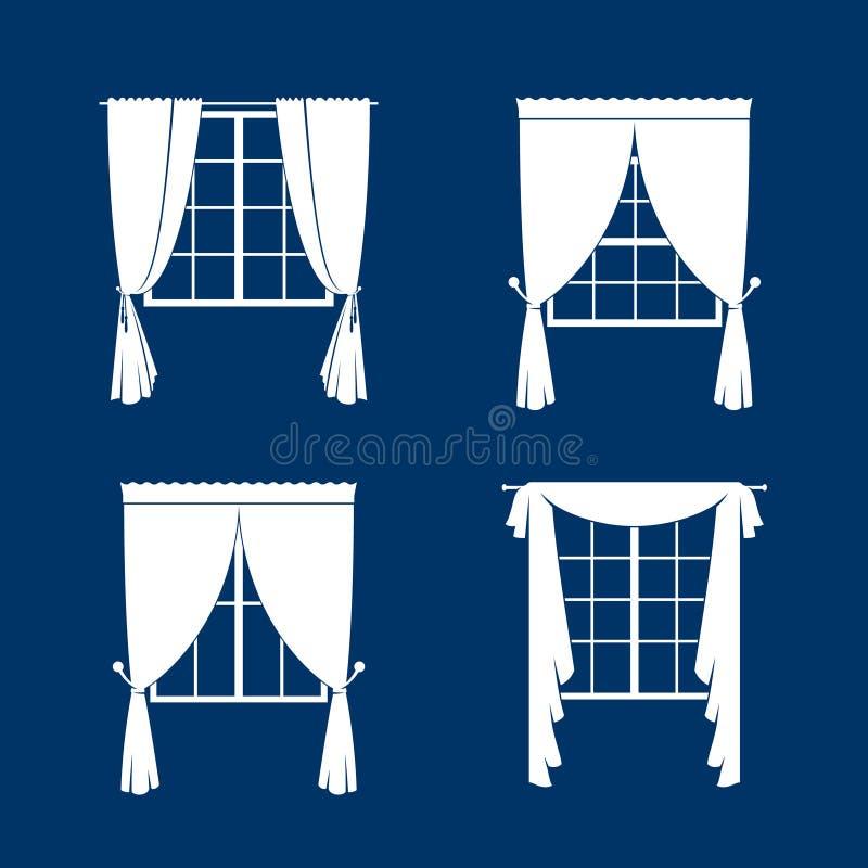 被设置的窗帘 向量例证