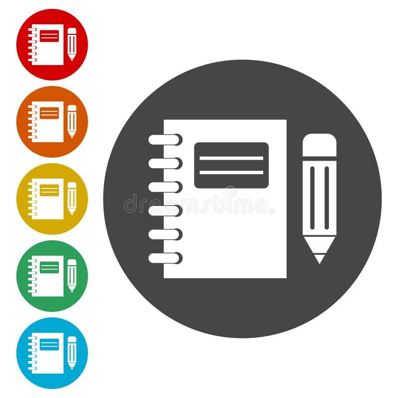 被设置的笔记本和铅笔象 库存例证