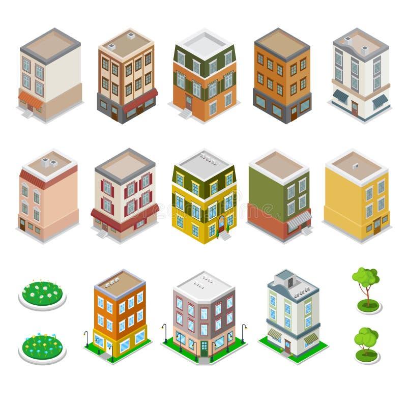 被设置的等量城市大厦 现代花的房子 库存例证
