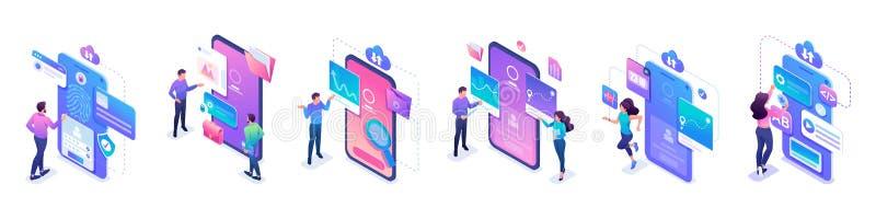 被设置的等量微型概念,工作在流动手机屏幕的年轻人 对网站和流动应用程序发展 皇族释放例证